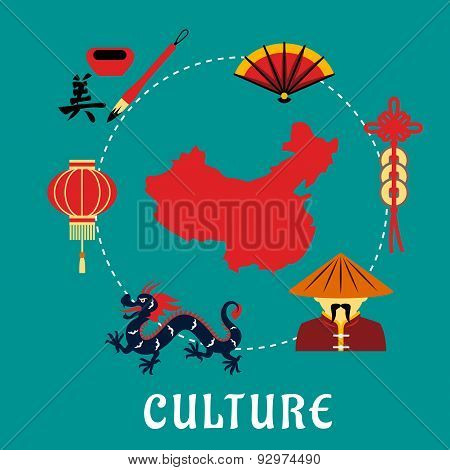 Chinese culture icons around a map
