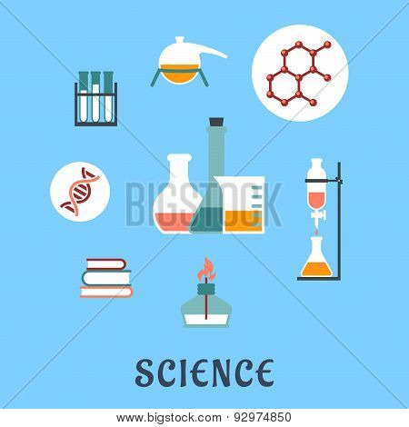 Colored flat science and medical icons