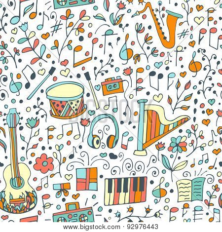 Vector Seamless Musical Pattern, Hand Drawn Doodles