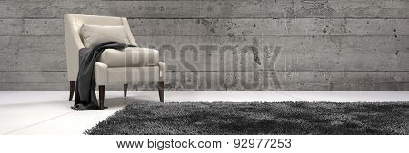 One Elegant Chair in a Modern Architectural Living Area Inside the House with Carpet on the Floor and Wooden Walls in Monochrome Style. 3d Rendering.