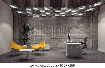 Modern corporate office interior for a CEO with grey brick walls, contemporary yellow triangular seating and a desk with computer lit from above by a group of hexagonal down lights. 3d Rendering.