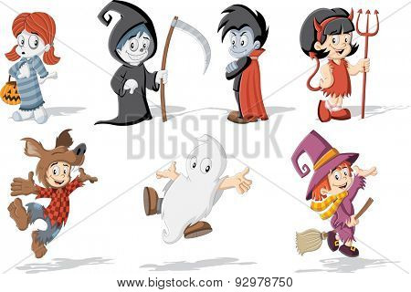 Cartoon children wearing costumes of classic halloween monster characters