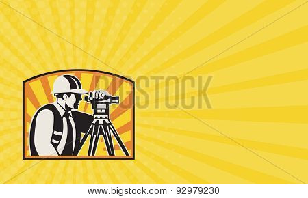 Business Card Surveyor Engineer Theodolite Total Station Retro