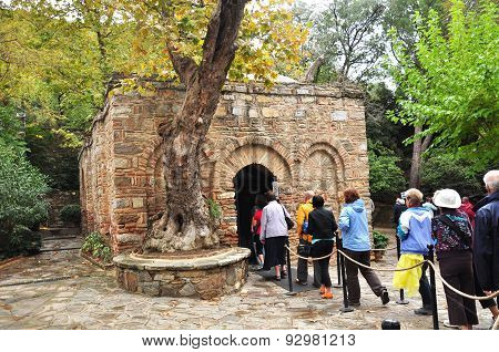 Visitors enter Virgin Mary's House