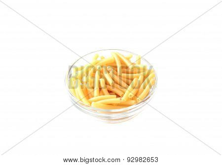 Italian Maccheroni pasta in a bowl on white background