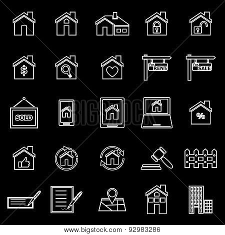 Real Estate Line Icons On Black Background