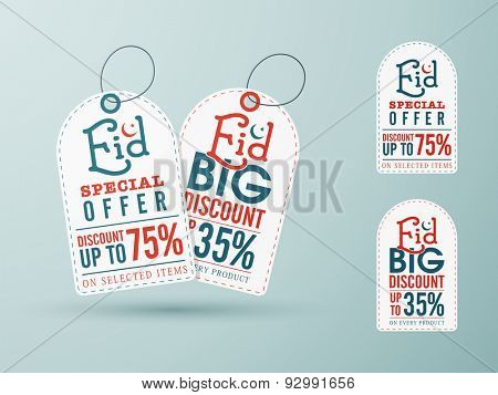 Sale tags with special discount offer upto 75% for muslim community festival, Eid celebration. poster