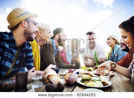 Diverse Luncheon Summer Friends Fun Bonding Concept