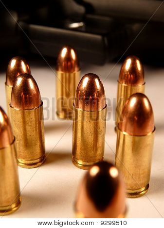 Group of 9mm Bullets