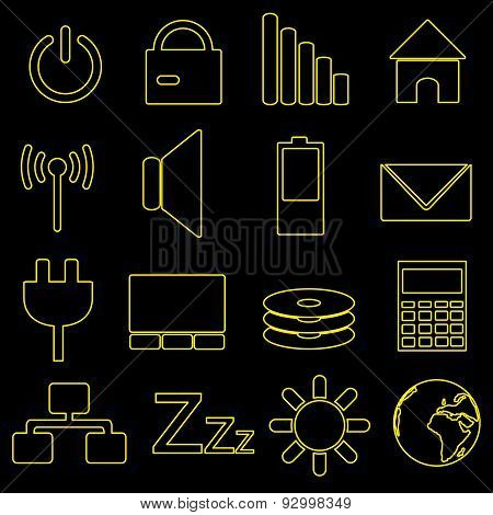 Computer And Laptop Indication Outline Icons Eps10