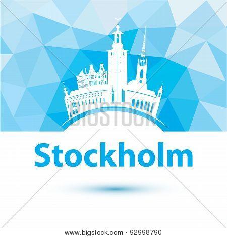 Vector Silhouette Of Stockholm, Sweden. City Skyline.