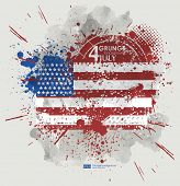 July fourth. Grunge background vector. Grunge print for t-shirt. Abstract dirt backgrounds texture. Grunge banner with an inky dribble strip with copy space. Background Grunge American flag for party poster