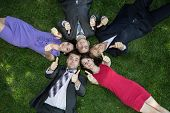 Lunch break. Five business people are relaxing on the glade of grass during lunch time. Happy faces poster