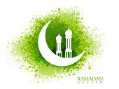 White creative mosque on glossy crescent moon on green color splash background for Islamic holy month of prayers, Ramadan Kareem celebration. poster