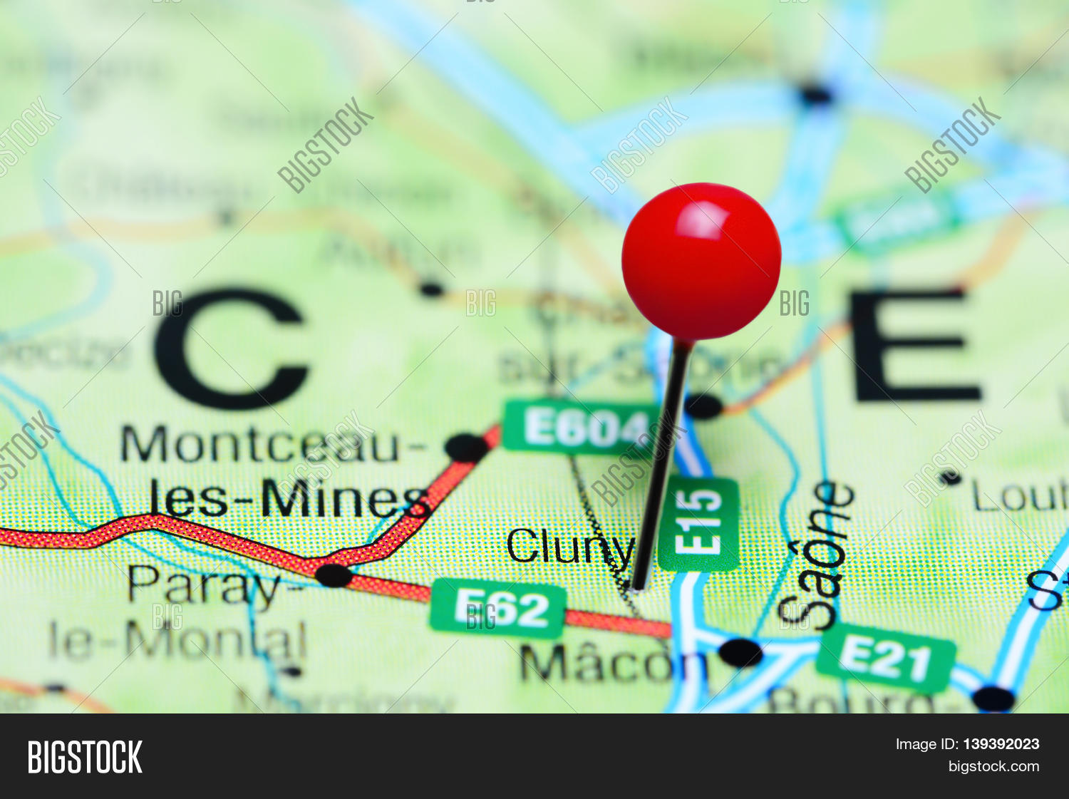Cluny France Map.Cluny Pinned On Map Image Photo Free Trial Bigstock
