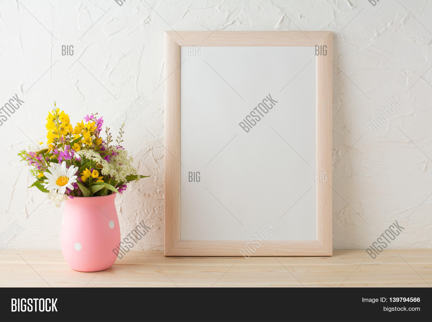 21f5802addaf Frame mockup with wild flowers in pink vase. Portrait or poster white frame  mockup.
