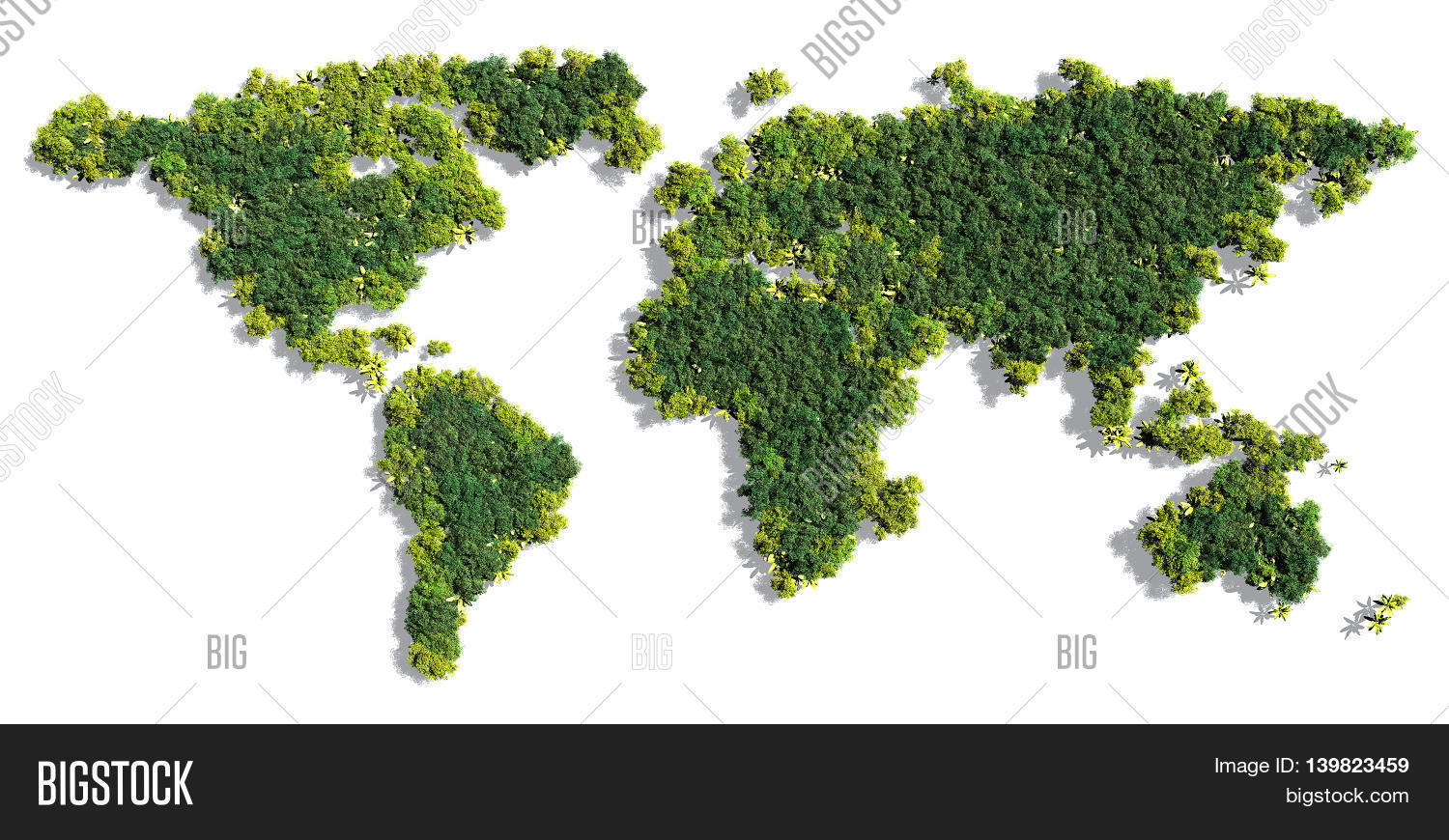 world map made up of various detailed trees on solid white background including the shadows