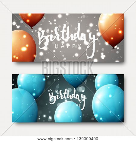 Happy birthday calligraphic inscription with balloons and light effects. Greeting card with realistic balls and bokeh. Festive banner template design for birthday. Bright card for child's birthday