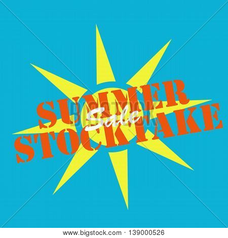 Background with text Summer Stocktake, vector illustration