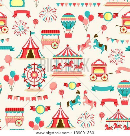 seamless pattern with vintage carnival and circus elements
