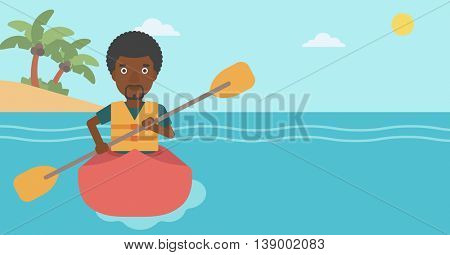 An african-american sportsman riding in a kayak in the sea. Young man traveling by kayak. Male kayaker paddling. Man paddling a canoe. Vector flat design illustration. Horizontal layout.