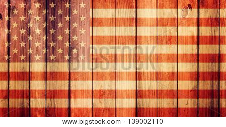 Wooden grunge retro background with USA flag