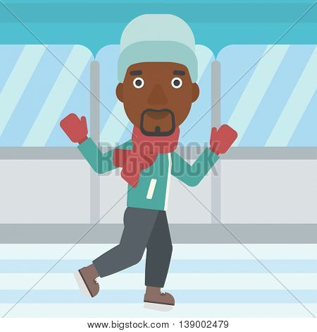 An african-american man ice skating on indoor ice skating rink. Sport and leisure concept. Vector flat design illustration. Square layout.
