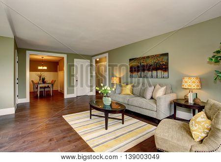 Living Room Interior With Green Walls Hardwood Floor And Rug
