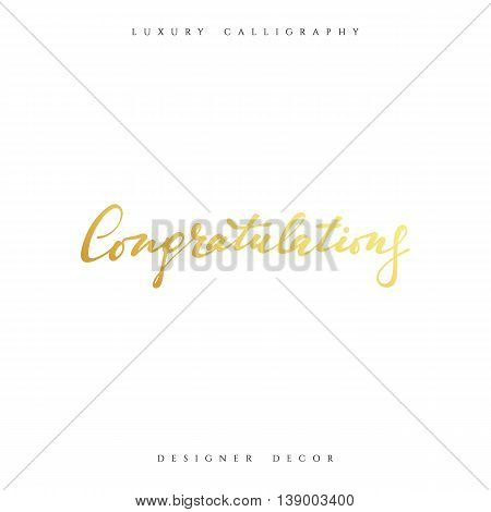 Congratulations calligraphic inscription. Design decor greeting cards Congratulations phrase.