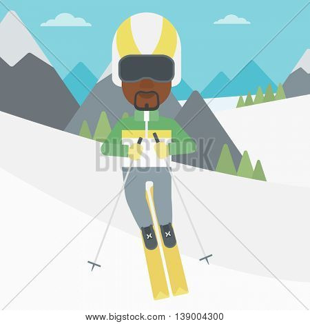 An african-american sportsman skiing on the background of snow capped mountain. Skier skiing downhill in mountains. Male skier on downhill slope. Vector flat design illustration. Square layout.