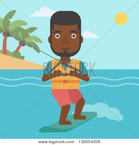 An african-american sportsman wakeboarding on the sea. Wakeboarder making tricks. Man studying wakeboarding. Man riding wakeboard. Vector flat design illustration. Square layout.
