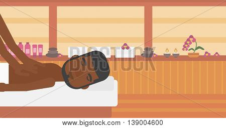 An african-american man getting a back massage in the spa center. Man having back massage in the spa salon. Vector flat design illustration. Horizontal layout.