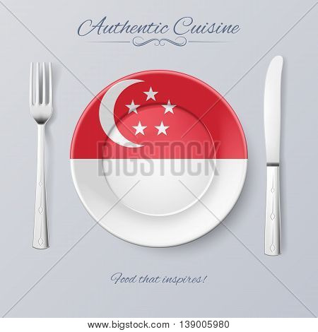 Authentic Cuisine of Singapore. Plate with Singaporean Flag and Cutlery