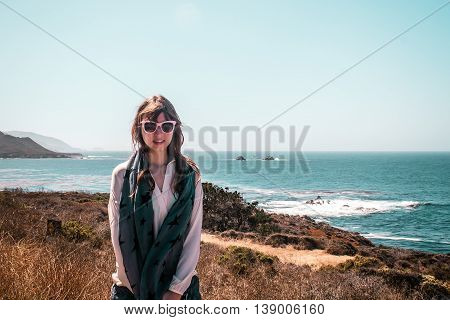 Girl And Oceanview From California Coast, United States