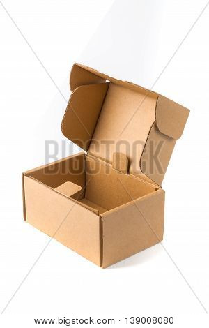 Open Cardboard Box Or Brown Paper Package Box Isolated With Soft Shadow