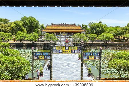 Hue, Vietnam - August 14th, 2011: Entrance to Palace for meetings court of the king, this path only for masters, kings, people usually do not get into this place  reverence, power of king feudal times