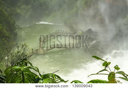 Landscape mist under waterfalls in the highlands create poetic beauty when watching