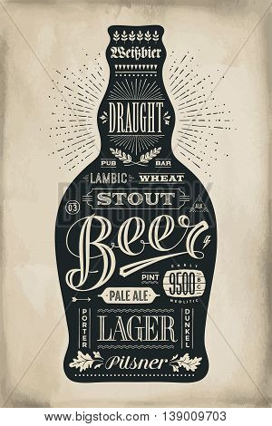 Poster bottle of beer with hand drawn lettering. Monochrome vintage drawing for bar menu, t-shirt print and beer themes. Isolated black bottle of beer wih lettering. Vector Illustration