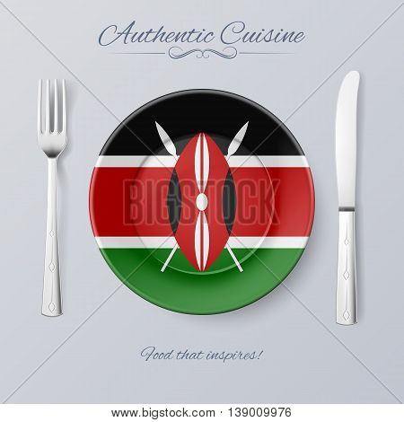 Authentic Cuisine of Kenya. Plate with Kenyan Flag and Cutlery
