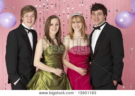 Two Young Couples Dressed For Party