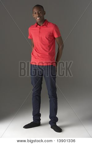 Teenage Boy Standing In Studio