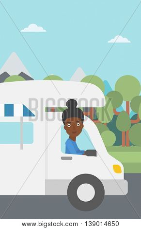 An african-american woman driving a motor home in the forest. Woman travelling by camper van. Vector flat design illustration. Vertical layout.