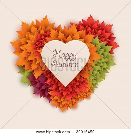 autumn leaves heart shaped - vector background