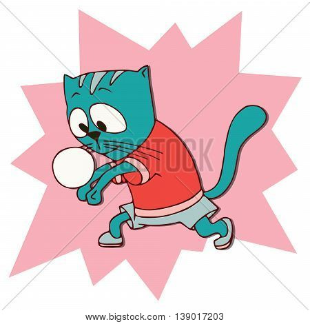 Cats athlete in sports wear. Volleyball player Cat returning the ball. Athletics. Funny animal sport sticker. Cartoon style. Vector illustration