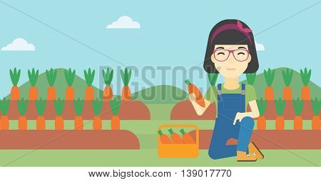 An asian female farmer collecting carrots in basket. Young farmer holding a carrot on the background of field. Vector flat design illustration. Horizontal layout.