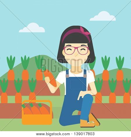 An asian female farmer collecting carrots in basket. Young farmer holding a carrot on the background of field. Vector flat design illustration. Square layout.