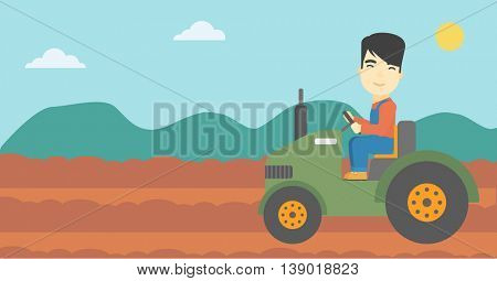 An asian farmer driving a tractor on the background of plowed agricultural field. Farmer sitting on a tractor in the countryside. Vector flat design illustration. Horizontal layout.