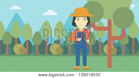 An asian female farmer working with a pruner in the garden. Young woman pruning branch. Gardener trimming branches in garden. Vector flat design illustration. Horizontal layout.