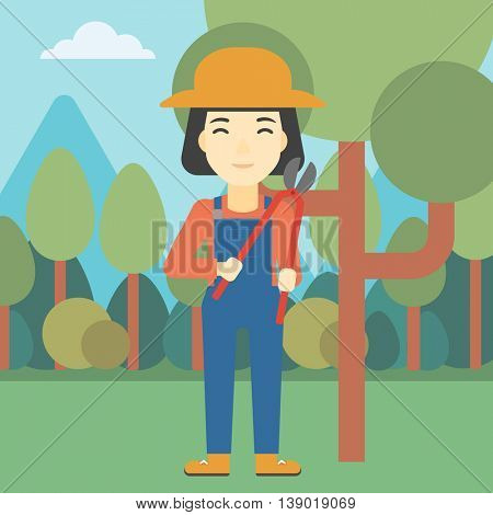 An asian female farmer working with a pruner in the garden. Young woman pruning branch. Gardener trimming branches in garden. Vector flat design illustration. Square layout.