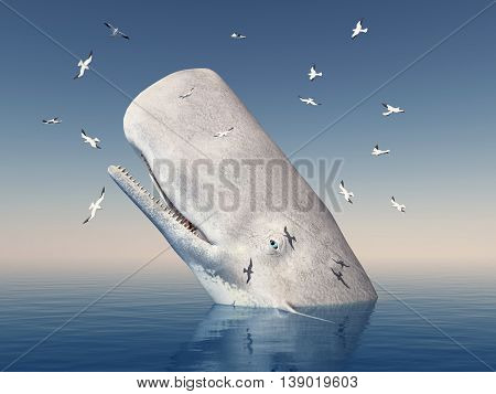 Computer generated 3D illustration with Mocha Dick and seagulls